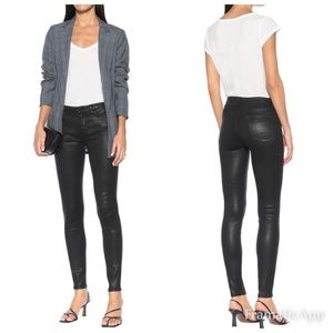 7 For All Mankind Black Coated Skinny Jeans 26